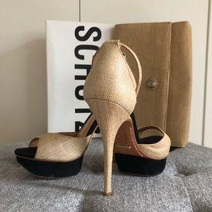 Schutz platform sandals with free clutch to match
